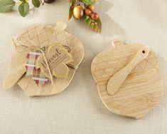 Acorn Shaped Cheeseboard & Spreader Wedding Favors, Fall, Autumn, Harvest, Thanksgiving Favors