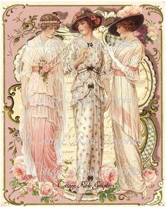 3 Vintage Victorian fashion ladies Roses by CottageRoseGraphics Éphémères Vintage, Images Vintage, Vintage Mode, Vintage Labels, Vintage Ephemera, Vintage Pictures, Vintage Postcards, Vintage Prints, Vintage Graphic