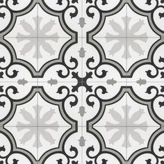 Merola Tile Lacour Grey Encaustic in. Porcelain Floor and Wall Tile sq. / - The Home Depot 3d Texture, Tiles Texture, Kitchen Flooring, Kitchen Tiles, Kitchen Redo, Kitchen Remodel, Kitchen Cabinets, Wall Patterns, Floor Patterns