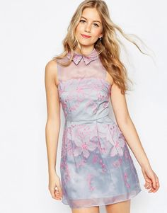 Image 1 of ASOS Contrast Embroidered Collar Organza Mini Skater Dress