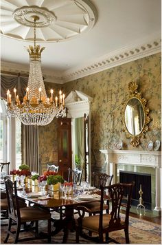 Fantastic dining room, especially the ceiling medalion, moldings. wallpaper, really everything!