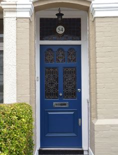 Blue Edwardian door by the London Door Company Door Entryway, Entrance Doors, Entrance Ideas, Front Door Design, Front Door Colors, Victorian Front Doors, Victorian Homes, Brixton, Timber Door