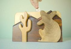 Handmade Wooden Bank with Desert Scene by HermitsOfAfton, $44.00 #giftformen #decor #handmade