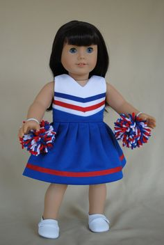 Red White and Blue Cheerleader Dress for by IfDollsCouldDream, $18.00