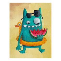 Shop Summer Beach Monster Postcard created by colonelle. Cute Monsters Drawings, Funny Monsters, Sea Monsters, Cute Monster Illustration, Monster Drawing, Monster Cards, Diy Canvas Art, Painting For Kids, Postcard Size