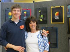 Artist Sam Bell '13 and his mom Debby at the AP Art Exhibit on Jan 29, 2013.