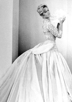 "Brigitte Bardot & Louis Jourdan in ""The Bride Is Much Too Beautiful"", 1956 Wedding dress style."