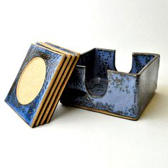 Ceramic coasters with holder