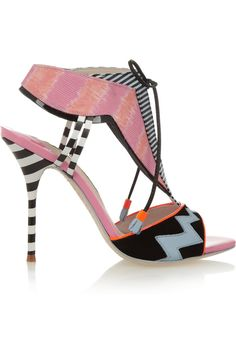 Sophia Webster | Leilou Stripe leather, suede and canvas sandals | NET-A-PORTER.COM