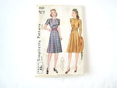 1940s Dress Pattern Simplicity 3420 Bust 31 by SweetGeekVintage