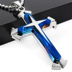 Gift Unisex Men blue Black Silver Stainless Steel Cross Pendant Necklace Chain Mens Cross Necklace Cross Necklace for Boys religion jewelry Mens Chain Necklace, Silver Pendant Necklace, Chain Jewelry, Crystal Pendant, Silver Jewelry, Silver Ring, Gold Jewellery, Jewelry King, Necklace Price