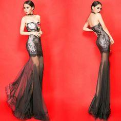 キャバドレス通販【KOPPV】 / チューブドレス tube dress 魅惑レース キャバドレス ロングドレス キャバクラドレス