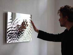 Vibration mirror- intersecting water ripples, materialized as a topographical mirror : Studio Fredrik Skåtar Installation Interactive, Interactive Art, Light Art Installation, Water Sculpture, Sculpture Art, Reflective Sculpture, Art Fou, Arte Elemental, Instalation Art