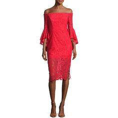 Milly Selena Off-the-Shoulder Lace Cocktail Dress ($595) ❤ liked on Polyvore featuring dresses, red pattern, flower print dress, lace sheath dress, off the shoulder cocktail dress, lace dress and floral print dress