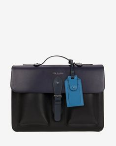 Color block leather satchel - Mid Blue | Bags | Ted Baker