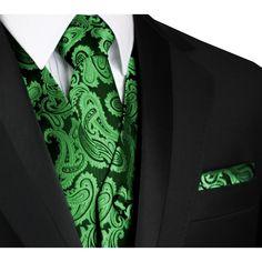 Best Tuxedo - Italian Design, Men's Formal Tuxedo Vest, Tie & Hankie Set for Prom, Wedding, Cruise in Green Paisley - Walmart.com - Walmart.com Men's Tuxedo Wedding, Wedding Men, Green Wedding, Wedding Suits, Wedding Ideas, Prom Ideas, Wedding Attire, Wedding Stuff, Wedding Inspiration