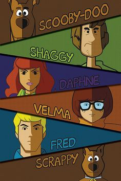 Scooby-Doo and Gang 20x30 Poster Print, (includes Scooby-Doo, Shaggy, Velma, Daphne, Fred, and Scrappy