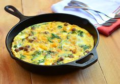 Frittatas are filling enough to be served for breakfast or dinner and this spinach and sausage frittata is sure to satisfy everyone!