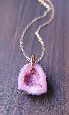 Lavender Geode Agate Druzy Necklace 14k gold. $65.00, via Etsy.