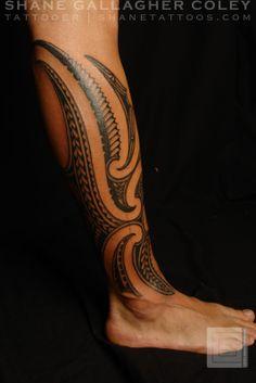 polynesian tattoos | Maori/Polynesian Fusion Calf Tattoo