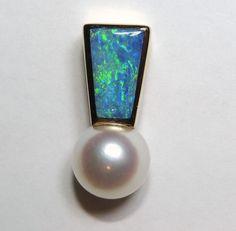 14K Opal & 8mm Pearl Pendant, Blue, Green Opal, 14kt Yellow Gold