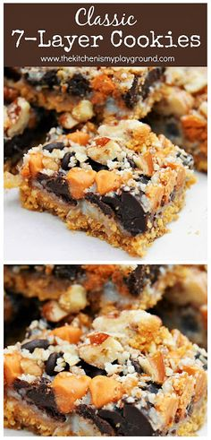 7 Layer Cookies You can't go wrong with 7 yummy ingredients layered together in a pan! So easy to make and sooo good. 7 Layer Cookies You can't go wrong with 7 yummy ingredients layered together in a pan! So easy to make and sooo good. Brownie Cookies, Bar Cookies, Shortbread Cookies, Dessert Simple, Holiday Baking, Christmas Baking, Seven Layer Cookies, Amazing Cookie Recipes, Butterscotch Chips