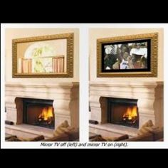 Fireplace mirror that hides tv behind it! You can watch tv above the fireplace, and when you turn it off, it looks just like a mirror. In living room Hide Tv Over Fireplace, Above Fireplace Ideas, Fireplace Mirror, Home Decor Bedroom, Home Living Room, Bedroom Sets, Mirror Tv, Hidden Tv, Ideas
