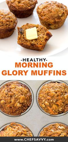 35 minutes · Vegetarian · Makes 16 muffins · Morning Glory Muffins. They are super easy to make and are perfectly tender and moist. Loaded with shredded carrots, apple, walnuts and coconut oil. Perfect for breakfast or as a snack! Healthy Breakfast Muffins, Healthy Muffin Recipes, Healthy Baking, Healthy Snacks, Healthy Carrot Muffins, Healthy Recipes With Apples, Healthy Morning Breakfast, Coconut Recipes Healthy, Recipes For Breakfast