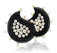 A Pair Of Pearl, Diamond And Ebony Ear Clips, By JAR