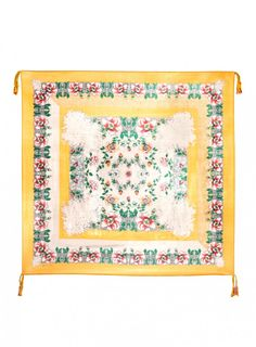 Edgar Scarf The Johnny Was Signature Silk EDGAR SCARF features a vintage-inspired floral print on a cream and sunny yellow ground. Try this printed silk scarf draped, knotted, or wrapped to add a feminine finishing touch to any outfit!  - Square Silk Scarf - Signature Silk