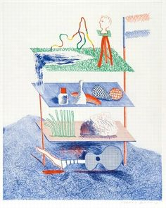 Hockney, David (b.1937), 'Serenade', Etching and Aquatint, 1976-77.