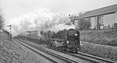 WC Pacific 34043 is working hard with a late-running semi-fast for London. Negative scan. New Milton, Hampshire.