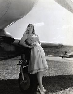 "Actress Veronica Lake (1922-1973), in Mitchell Leisen's film, ""I Wanted Wings,"" 1941.  Beautiful picture, beautiful outfit, beautiful girl, beautiful machinery."
