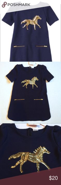 NAVY BLUE DRESS NWT GYMBOREE PLUM PONY NAVY BLUE GOLD SEQUIN HORSE DRESS. Gold zippers on front of dress with small pockets. Knee Length. Can be worn as dressy or everyday wear. Super classy!!😊 Gymboree Dresses Casual