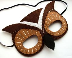 Felt Owl Mask woodland forest brown  prototype by lupin on Etsy, £9.00