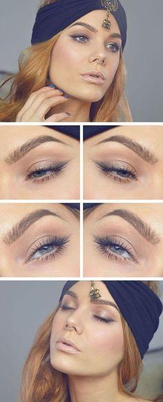 Image via We Heart It https://weheartit.com/entry/166918140 #arab #blue #eyes #hair #lips #look #makeup #scarf
