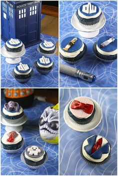 Doctor Who 50th Anniversary Cupcakes via Tracy of Sugarcrafter and Sarah of Dash and a Pinch