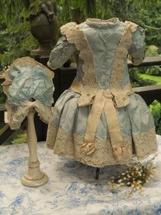~~~ Amazing French Couture Bebe Costume with Bonnet ~~~