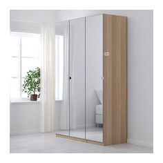 PAX Wardrobe, white stained oak effect, Vikedal mirror glass standard hinges 59x23 3/4x93 1/8