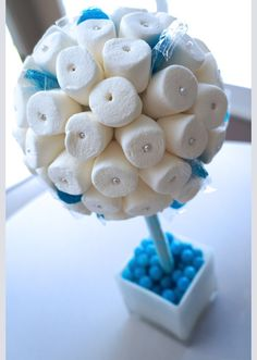 Frozen Billowy Marshmallow Topiary Centerpieces.