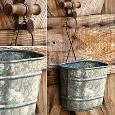 Galvanized Hanging Buckets, Set of 3