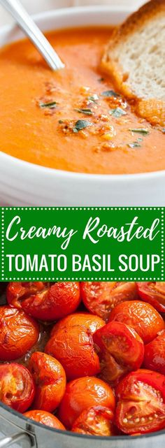 A creamy and healthy Roasted Tomato Soup that's loaded with fresh flavors and super easy to make! This easy tomato basil soup recipe is perfect for a cold winter day, super tasty, and has less than 200 kcal for a big bowl. Serve it with rustic bread or gr http://healthyquickly.com/healthy-soup-recipes-for-weight-loss/