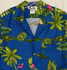 fbddae84 Vintage 2XL Hawaiian Shirt Hilo Hattie 70's Aloha Blue Hidden Pocket  Bananas #HiloHattie #Hawaiian