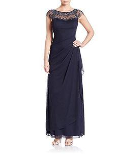 Xscape Women's Petite Cap Sleeve Illusion Beaded Gown cha…