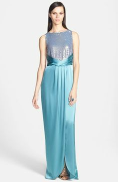 St. John Collection Sequin Bodice Liquid Satin Gown with Train available at #Nordstrom