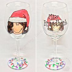 Personalised teachers Christmas wine glass x