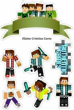 Skins do althentic Minecraft Birthday Party, 10th Birthday, What To Do When Bored, Mini Craft, Paper Cake, Party Kit, Birthday Cake Toppers, Baby Cards, Party Games