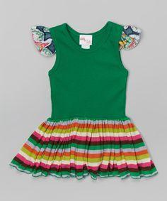 Love this Sweet Petunia Green Stripe Angel-Sleeve Dress - Toddler & Girls by Sweet Petunia on #zulily! #zulilyfinds