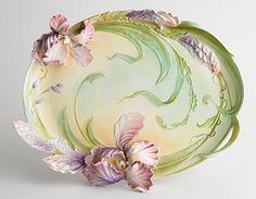 """Windswept Beauty"" Iris Design Sculptured Porcelain Large Tray"