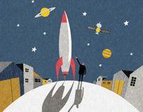 "Cover illustration for the novel ""Shitamachi Rocket"" by Jun Ikeido."